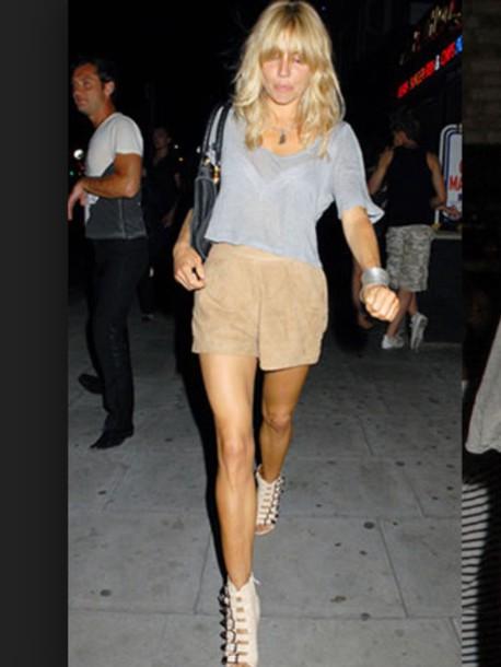shorts crop tops sienna miller grey t-shirt suede suede shorts nude short top grey top sandals caged sandals white sandals