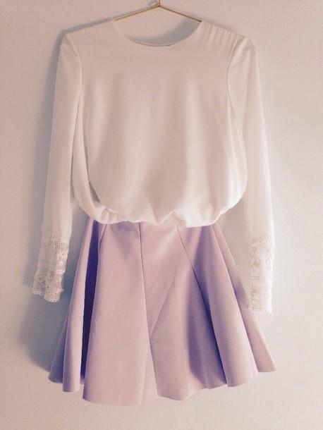 blouse cute white top skirt