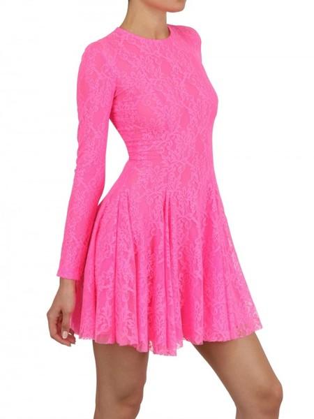 Maria Escoté Neon Techno Lace Dress In Pink Fuchsia Lyst