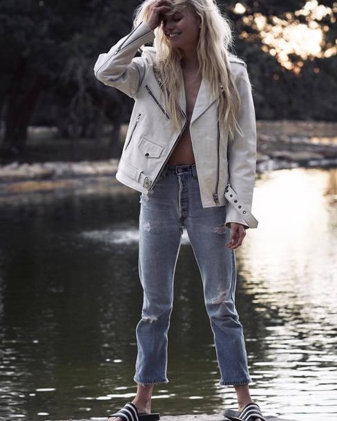jacket white jacket jeans blue jeans