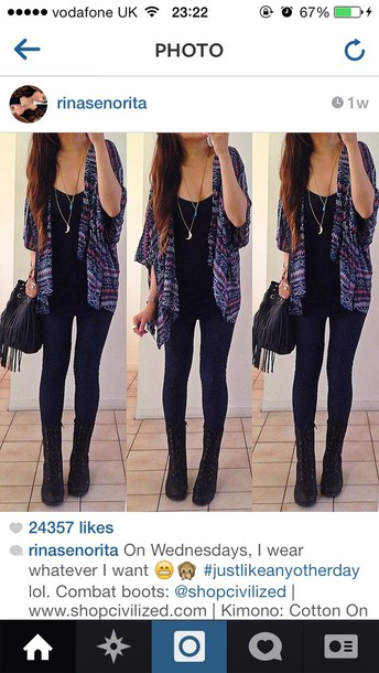 blouse kimono aztec cardigan purple shoes bag jewels coat pants