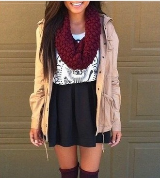 jacket red knit scarf tan jacket military style jacket jacket with hood jacket without sleeves scarf red scarf skirt black skater skirt black skirt dressy dressy style white shirt white shirt with print