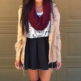 red scarf scarf jacket skirt black skirt black skater skirt white shirt red knit scarf tan jacket military style jacket jacket with hood jacket without sleeves dressy dressy style white shirt with print scarf red