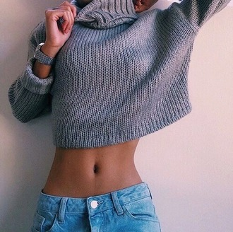 sweater grey crop turtleneck