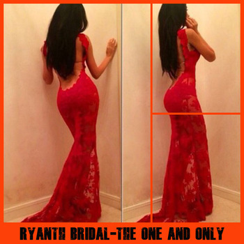 Hot selling sleeveless red mermaid lace evening dresses backless floor length prom dress custom made lf1025 on aliexpress.com