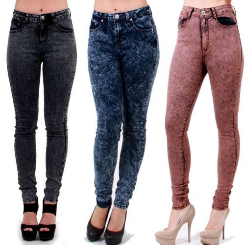 New Acid Wash High Waist Skinny Leg Jeans Black Indigo Rust Size 1 15 RDF0314 | eBay