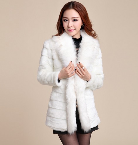 Style Elegant Women's Winter Fur Coat Long Fox Fur Collar Spliced ...