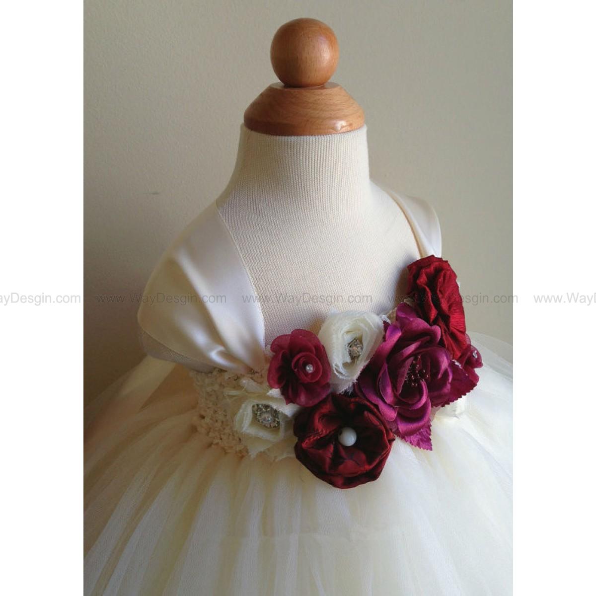 Flower girl dress, ivory and burgundy tutu dress, baby tutu dress, toddler tutu dress, newborn