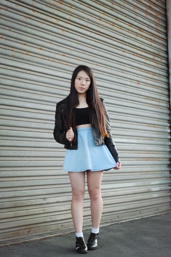 beauthi jacket skirt jewels high waisted skirt denim skirt