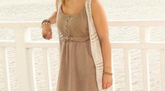 dress cinch waist tan dress casual dress
