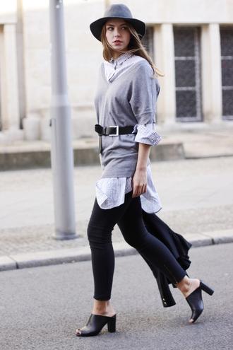 gold schnee blogger hat peep toe heels waist belt striped shirt grey sweater