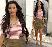 shirt,kim kardashian,red and white stripes,red and white striped,skirt