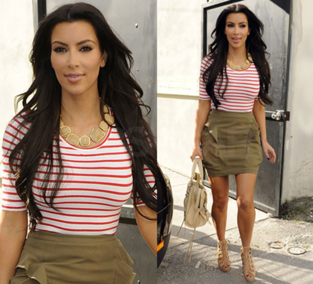 Shirt: kim kardashian, red and white stripes, red and white ...