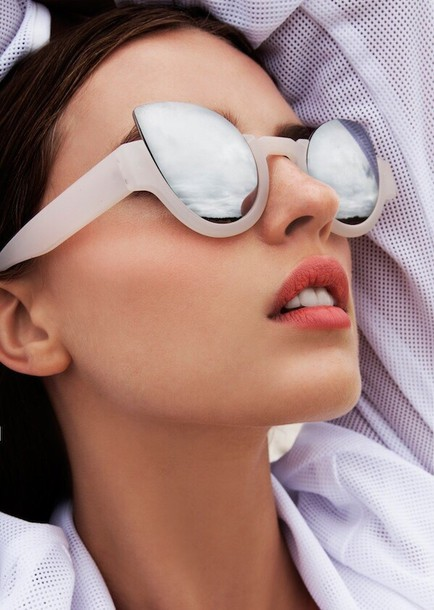 sunglasses beige sunglasses mirror lens clothes accessories blouse shades style fashion sunnies reflective pink shiney