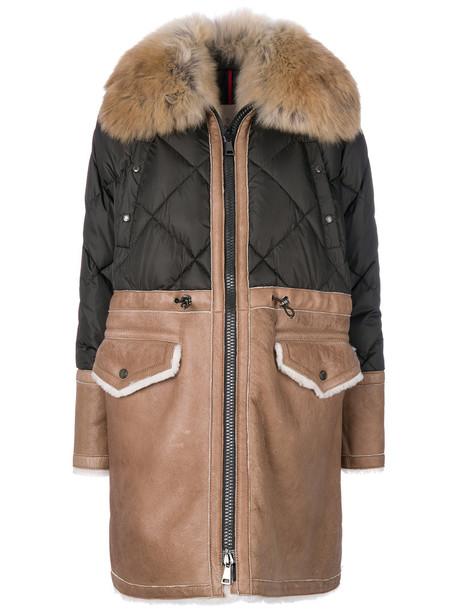 moncler coat fur women green