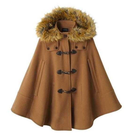 coat duffle coat cape beige jacket