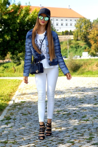 only my fashion style blogger jacket bag sunglasses hat shoes white jeans skinny jeans blue jacket white top quote on it cap sandals michael kors shoulder bag blue bag