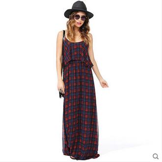 halter dress sleeveless sexy dress chiffon dress plaid long dress harness