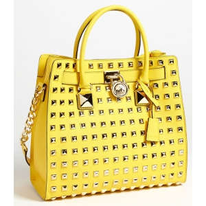5e11c8c63435 MICHAEL Michael Kors Yellow Hamilton Large Studded Leather Tote - Sale