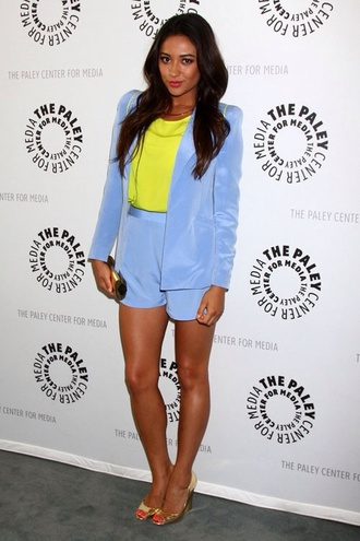 shay mitchell shorts lime light blue blazer tailoring dress