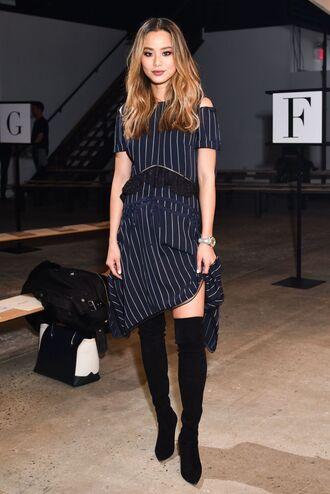 dress boots jamie chung midi dress fashion week ny fashion week 2018 blogger navy navy dress asymmetrical dress
