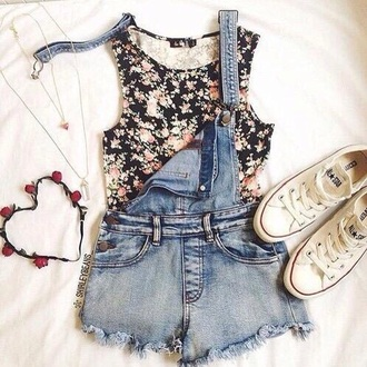 top overalls denim overalls floral fashion floral tank top denim denim shorts crop tops with overalls short overalls style