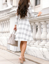 dress,tumblr,a line dress,feminine,checkered,tartan,plaid,tartan dress,white dress,long sleeves,long sleeve dress,midi dress,bag,grey bag,work outfits,office outfits,thanksgiving outfit,pumps,pointed toe pumps,high heel pumps,shoes,nude heels