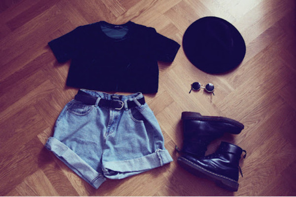shoes shorts black hat DrMartens indie sunglasses cute