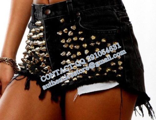 women colorful spike rivet shorts fluorescence gradients denim shorts tie dye technis burrs jeans shorts   bo58-inJeans from Apparel & Accessories on Aliexpress.com