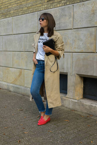 coat tumblr trench coat t-shirt white t-shirt quote on it denim jeans blue jeans shoes loafers