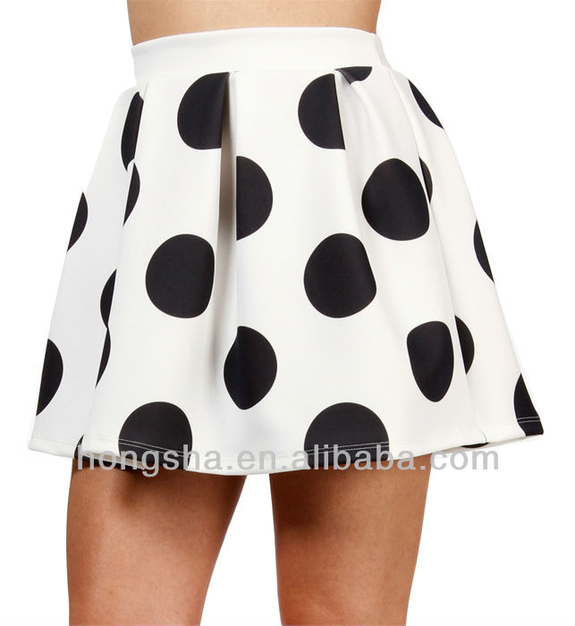 White/Black Polka Dot Skater Skirt HSM556, View Summer Polka Dot r Skirt , HONGSHA Product Details from Dongguan City Humen Hongsha Garment Factory on Alibaba.com