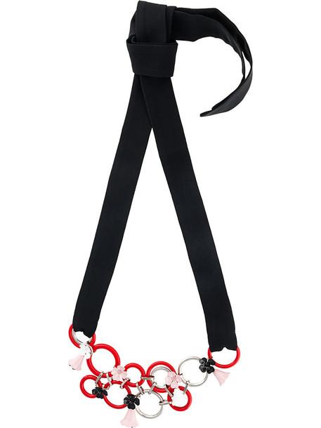 metal women necklace floral black jewels