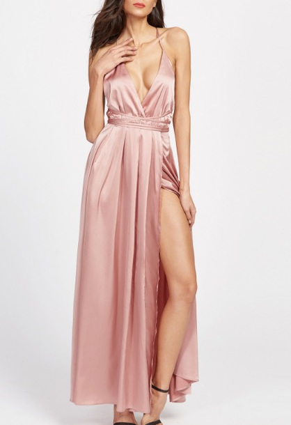 dress pink pink dress satin satin dress slit dress maxi dress