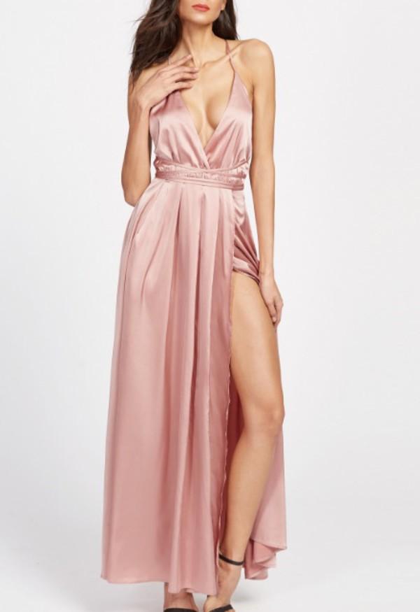 dress pink pink dress satin satin dress slit dress maxi dress