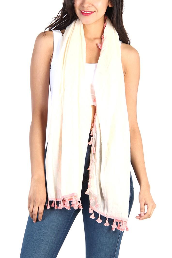 Pink fringe scarf