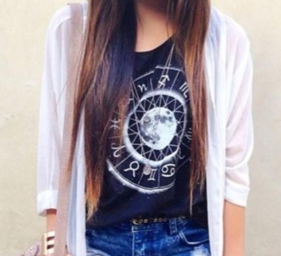 zodiac black shirt cardigan