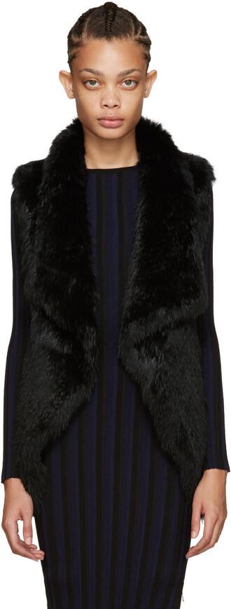 vest fur vest knit fur black jacket