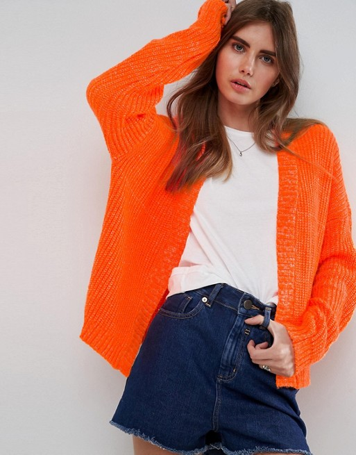 ASOS Chunky Cardigan With Wide Sleeve at asos.com