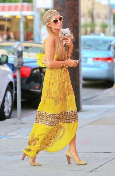 paris hilton bag yellow dress yellow