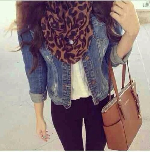 bag blue scarf denim jacket leopard print black outfits summer listen jacket