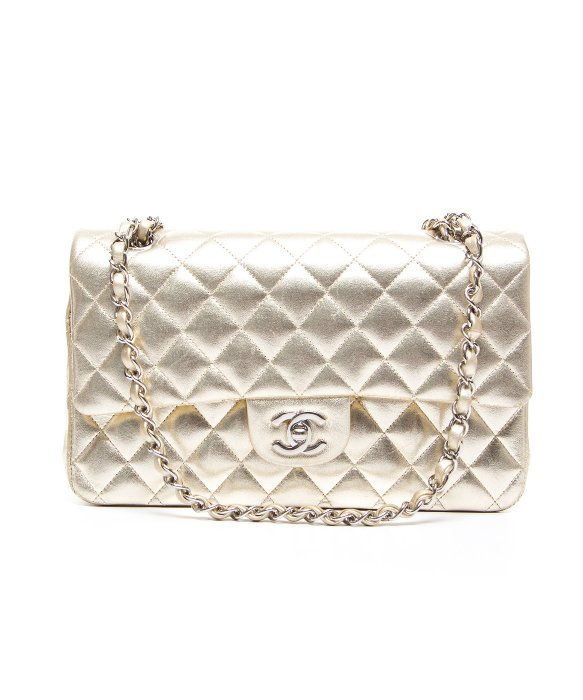 Chanel Pre-Owned Chanel Gold Lambskin Medium Double Flap Bag | BLUEFLY up to 70% off designer brands