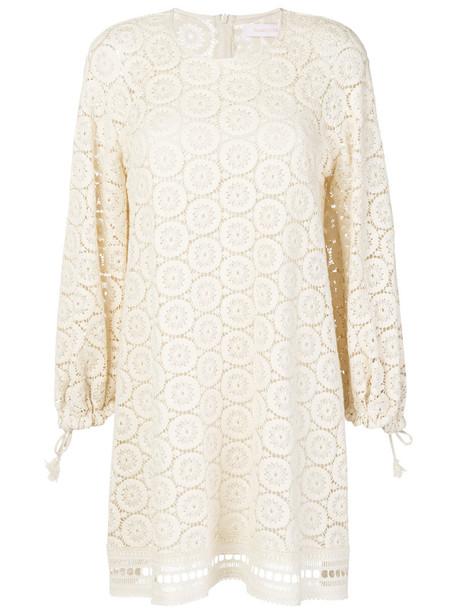 See by Chloe dress women white cotton crochet