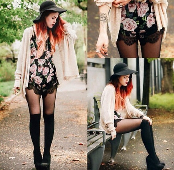 dress flowers cute hat cardigan style