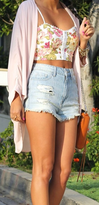 shorts blue shorts ripped jeans style trendy outfit top