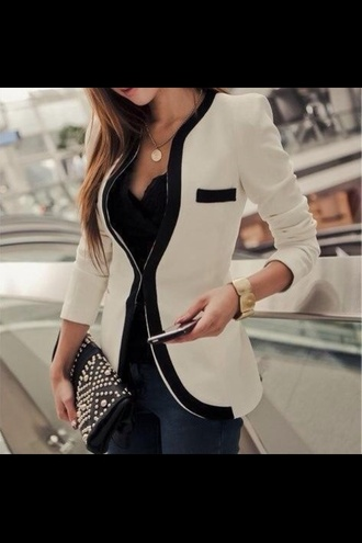 jacket blazer black white girl girly