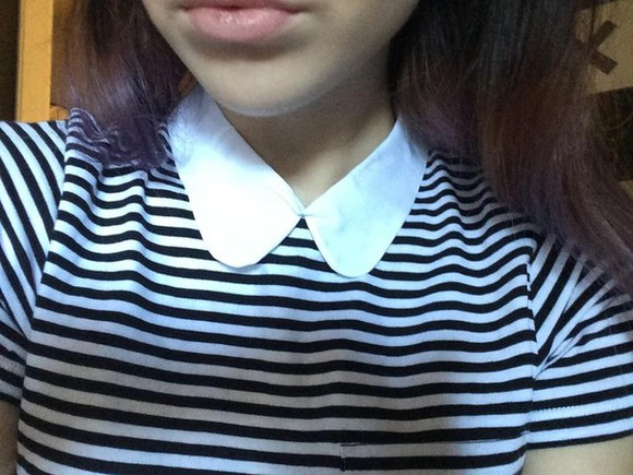 acacia clark blouse stripes peter pan collar