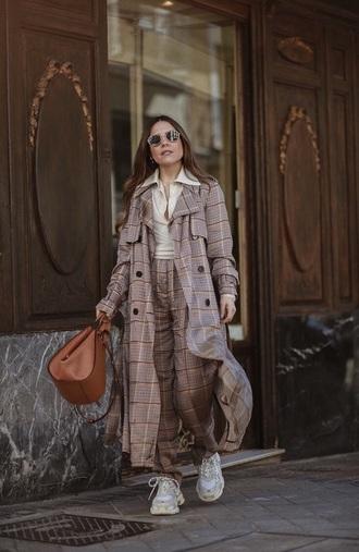 coat long coat plaid plaid coat plaid pants top sneakers balenciaga bag brown bag white top