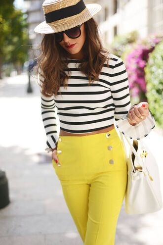 pants yellow pants top crop tops striped top hat bag white bag summer outfits long sleeves high waisted pants