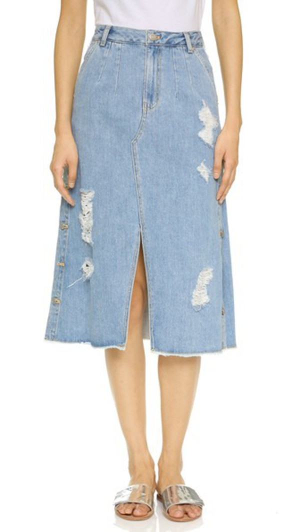 Sjyp Button Wrap Denim Skirt - Dark Blue - Wheretoget