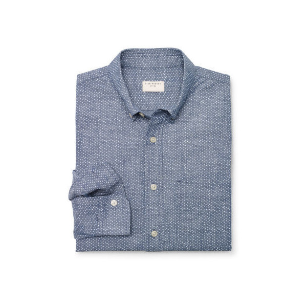 Club Monaco Slim-Fit Chambray Dot Shirt - Polyvore